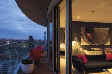 Penthouse view and balcony