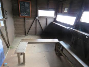 Movable bench in the Loons Hide
