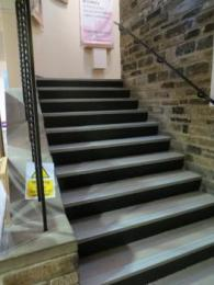 Museum stairs up to 2nd landing 10 steps