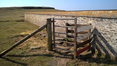 Entrance kissing gate at Noup Cliffs
