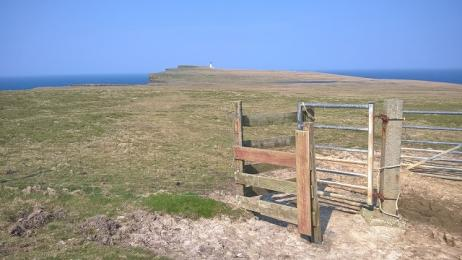 Kissing gate along Noup cliff top trail
