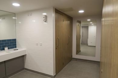 Outward opening doors in Aspects toilet facilities