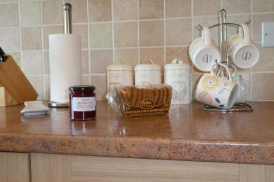 Tea, coffee, sugar plus local jam and local biscuits to make you welcome.
