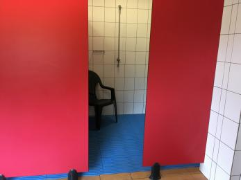 One of our communal showers. Doorway 125cm wide, cubicle 145 x 195cm.