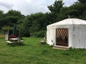This shows the set-up at Clover yurt, you can just see the compost toilet (small wooden building) just to the left of the yurt
