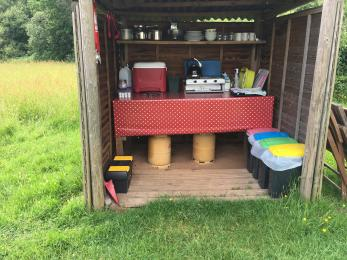 This is the outdoor camp kitchen in Clover yurt, which is about 5 metres from the yurt.