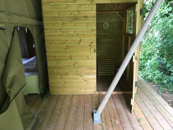 Daisy shower room entrance. There is also a  more accessible communal shower area