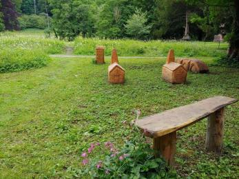 Bench and  tactile sculptures