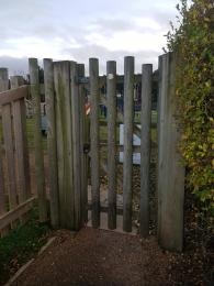 Photo of the side-hung gate to the Play Area
