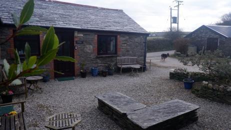 Polrunny Farm's courtyard garden - a sheltered gravel area containing garden furniture and pot plants