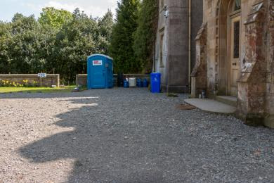 Photo of portaloo showing proximity to main entrance