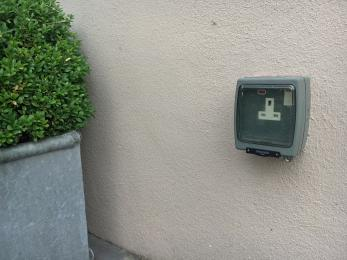 One of the external power points in the courtyard