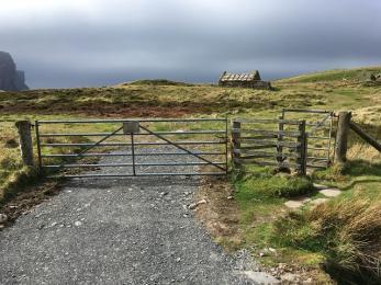 Rackwick beach kissing gate where grass path routes divide