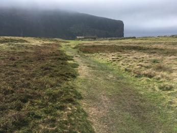 Rackwick beach track grass surface by Bothy
