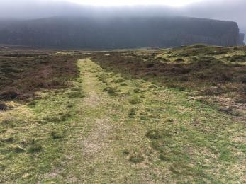 Rackwick beach path grass surface