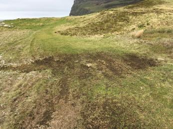 Rackwick beach track wet area of path
