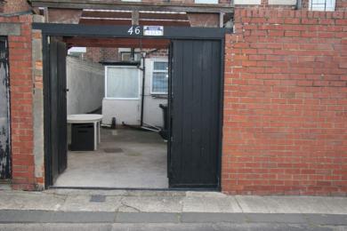 Rear entrance into back yard, gates 1670mm wide