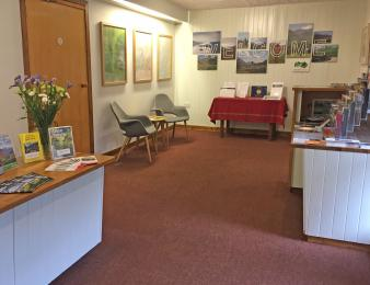 Self Catering Office Reception showing low section of the check in desk for wheelchair users plus seating area