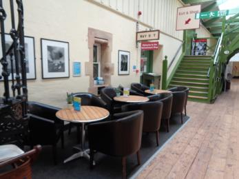 Refreshment stop eating area showing chairs and tables