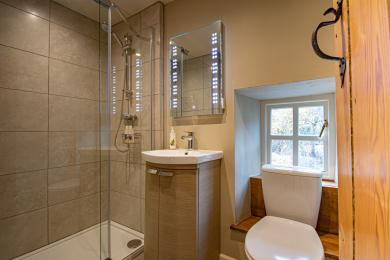 Shower room with walk in shower, vanity basin and toilet.