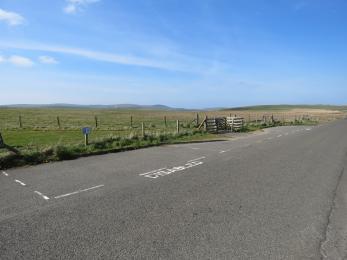Roadside designated accessible parking bays at Brodgar