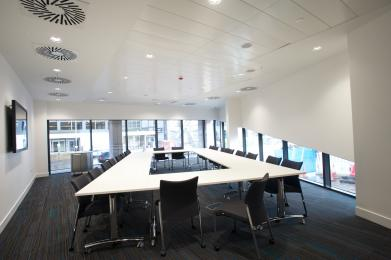 All of the conference rooms are flat-floored, with flexible seating layout.