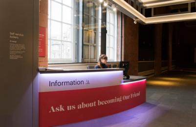 Scottish National Portrait Gallery - information desk viewed from gallery entrance