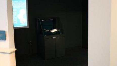 Shakespeare display showing case light and backlit information panel