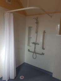 Shower in wet room.