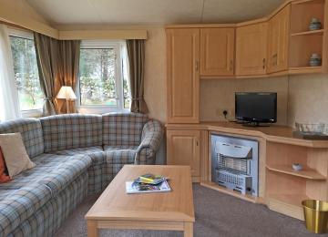 Standard 3 bedroomed caravan open plan Lounge