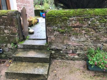 Steps to first garden level