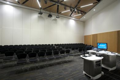 Auditorium A is flat-floored, with flexible seating layout.