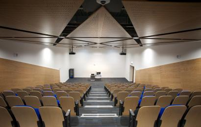 The Level 1 Auditorium has fixed, tiered seating with two wheelchair spaces in the front row.