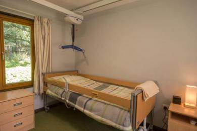 Accessible bedroom one electric profiling bed with hoist