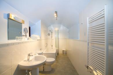 Thornhill's en suite has a bath with shower over.  There are 2 steps  to negotiate to access the bathroom.