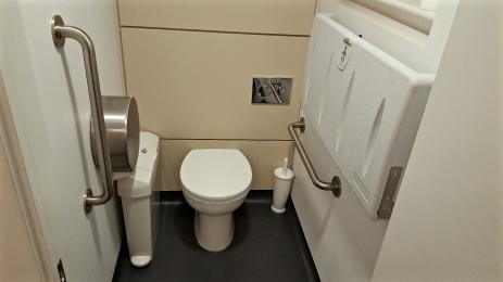 A photograph of the smaller accessible toilet and baby changing facilities by the meeting rooms.