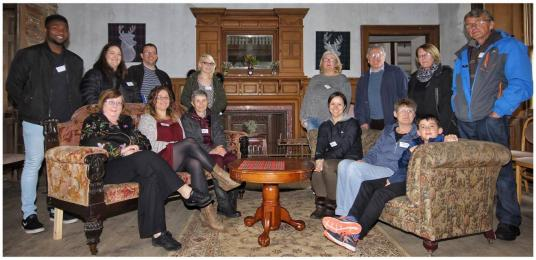 Photo of some Bannockburn House volunteers showing the main hall area