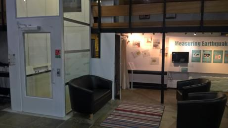 Museum lift and seating area