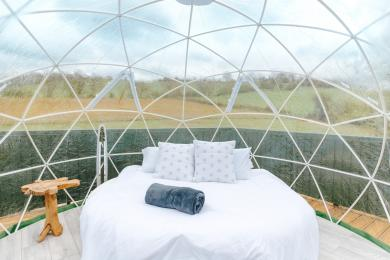 The geodesic dome on the Chicken Shed Lodge