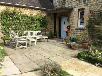 Patio in front of Woodchester Lodge - the main smoking area