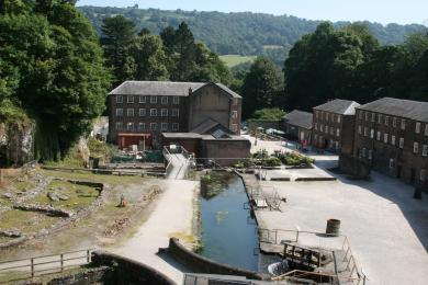 Aerial view of the Mill Yard, showing the wooden walkway on the left.