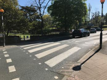 The Zebra Crossing on Trenance Road, which needs to be crossed if arriving by Road Train.