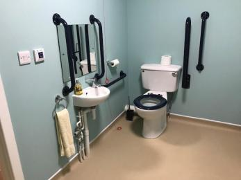toilet and basin with grab rails in disabled toilet