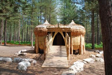 House of Baba Yaga structure on Moors Valley Play Trail