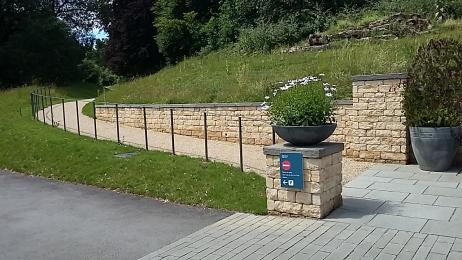 Accessible path from the car park to the Ticket Office and museum entrance