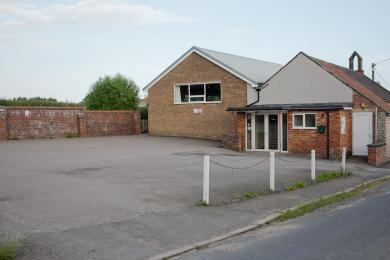 View of Wrelton Village Hall main entrance and car park