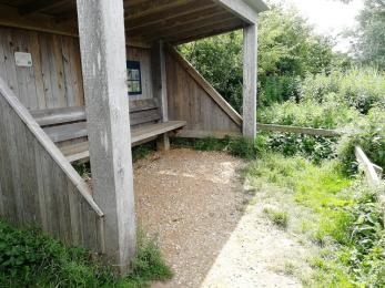 Surlingham Shelter, showing open fronted viewing facility