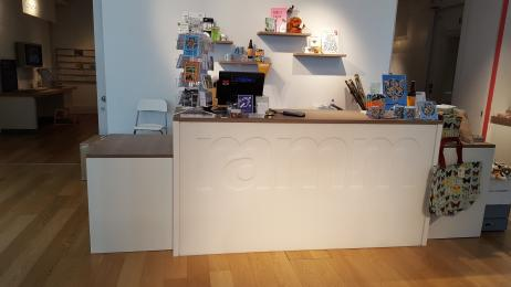 A photograph of the low-level shop counter.