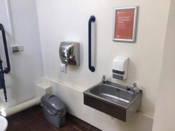 Low level hand basin, dryer and wall mounted hand rail