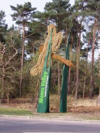 Dragonfly sign at main entrance to Moors Valley